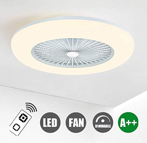 H.W.S Deckenventilator Mit Beleuchtung LED-Licht Dimmbar Mit Fernbedienung 36W Moderne Fan LED-Deckenleuchte Einstellbare Windgeschwindigkeit Für Schlafzimmer Wohnzimmer Esszimmer Weiß