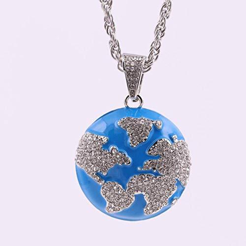 YOUHU Collana Signora,Vintage Iced out Earth Pendente Blue Silver World Map Earth Day Retro Fashion Jewellery Trendy Hip Hop Accessori Regalo di Natale per Le Donne