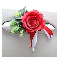 ウェディング装飾ハンドルドアカーフラワーコルレージハンドフラワーアクセサリーシルクバレンタイン花輪ガーランドウィンドウバックミラー (Color : 22)