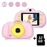 Appareil Photo pour Enfant, avec Carte TF 32 Go, Caméra Selfie Rechargeable Numérique pour Enfants, Ecran à 2,4 Pouces, Double...