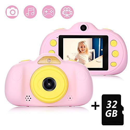 Cámara para Niños con Tarjeta TF 32GB,Cámara Digitale Selfie para Niños,Video cámara Infantil con Pantalla de 2.4 Pulgadas,HD 8MP/1080P Doble Objetivo,a Prueba de Golpes,Carcasa de Silicona