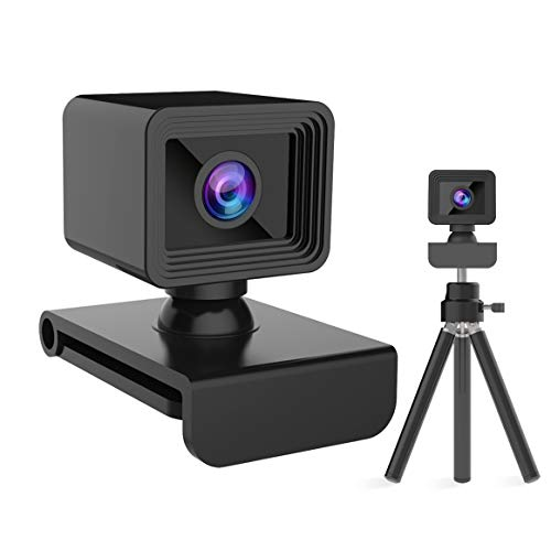 Webcam with Microphone, HD 1081P Webcam with Tripod, Live Streaming Webcam with Stereo Microphone, Pro Video Web Camera, USB Laptop PC Webcam for Video Calling Conferencing, Plug and Play …