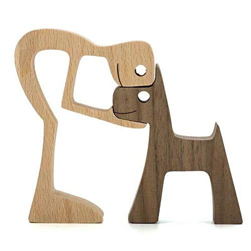 XinTengDa Holzskulptur Mensch und Hund Holz Geschnitzte Handwerksornamente, handgeschnitzte Holz unbemalte Hund Mensch Schnitzfigur Figur Haustier Liebhaber Geschenke Holz Skulptur