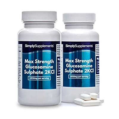 Maximum Strength Glucosamine Sulphate 2KCl | 1858mg Per Serving | 2 x 180 Tablet Bottles = 360 Tablets Total | Manufactured in The UK