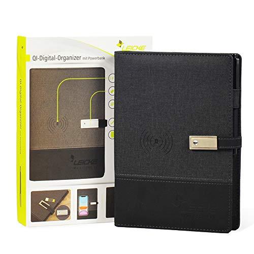Leicke Cuaderno multifuncional con cargador inalámbrico, banco de energía digital Qi integrado, agenda A5 rellenable, cuaderno inteligente con disco flash USB ⭐