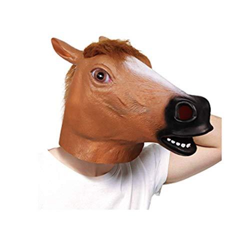molezu Látex máscaras Marrón Caballo Cabeza Animal para Super Creepy Halloween Fiesta Disfraz Adulto.