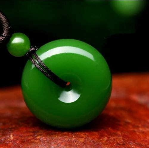 ZYLZL Colgante de rosquilla de jade verde natural, collar de jadeíta, joyería con dijes, accesorios de moda, amuleto de la suerte tallado a mano, regalos