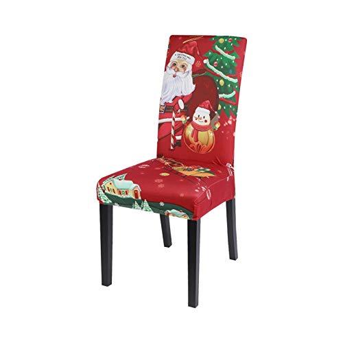 Hopereo 1/2/4/6 Stück Weihnachten Elastische Esszimmer Stuhlhussen Weihnachten Stuhlbezug Stretch Schonbezüge für Weihnachten Party Decor C1-4pcs