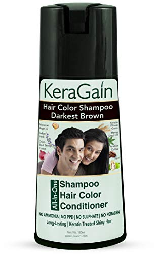Looks21 Kera Gain Hair Colour Shampoo (Darkest Brown, 180ml) - Do-It-Yourself Grey Hair Color No Ammonia No PPD No Parabens No Sulfates with Keratin Treatment Argan oil Onion oil Cruelty-Free