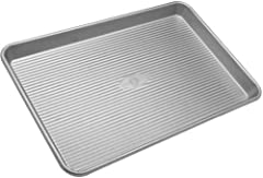 Classic Half Sheet Pan for baking and roasting cookies, vegetables, and cakes; commercial grade and heavy gauge aluminized steel Baking pans feature unique design with corrugated surface; facilitates air circulation for a quick release and evenly bak...