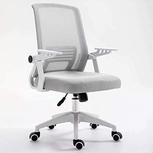 BRFDC Noble Chair Bürostuhl Ergonomischer Swivel Mesh Task Chair High Back gepolsterter Schreibtischstuhl mit Faltbarer Armlehnenkopfstütze höhenverstellbar (Color : Gray)