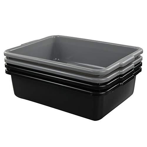 Lesbin 13 Liter Plastic Commercial Tote Box, Bus Tubs/Bus Box, 4-Pack