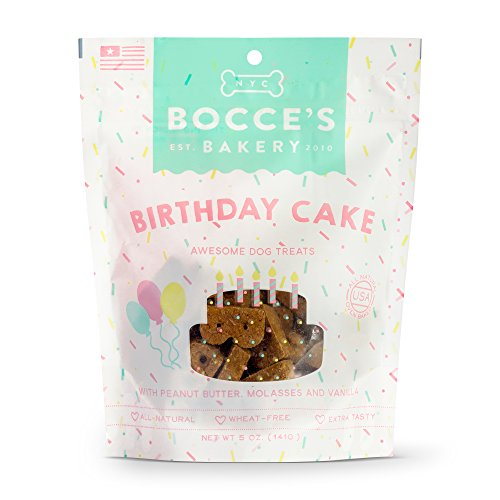 Bocce's Bakery Birthday Cake Biscuits Bag Dog Treat, 5 Oz