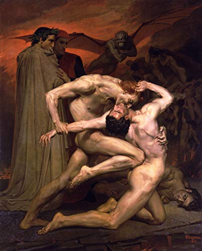 p5398 A2 Poster William Adolphe Bouguereau Dante And Virgil In Hell 1850 - Art Movie Film Game - Reproduction Old Vintage Wall Decoration Gift
