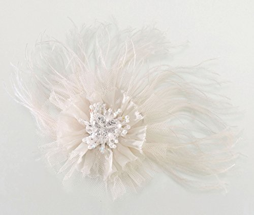 Lillian Rose Marabou Feather Hair Clip, 6-inch, Ivory