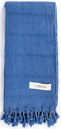 Bersuse 100% Baumwolle - Troy Hamamtuch Pestemal - Blau