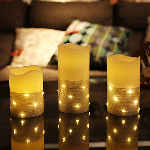 """Flickering LED Candle Set with Daily Timer,Flameless Candles,Embedded String Lights Stay Lit,Silver Stripes Decorative,Real Wax,Battery Powered,Set of 3(H 4""""5""""6"""" x D3"""")"""