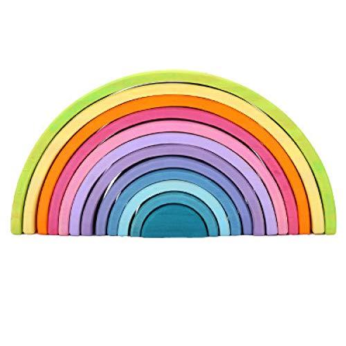 Juguetes Apiladores De Arcoíris De Madera, Rompecabezas De Aprendizaje Educativo Preescolar, Regalos Geométricos para Niños Pequeños Y Niñas De 1 2 3 4 Años,A
