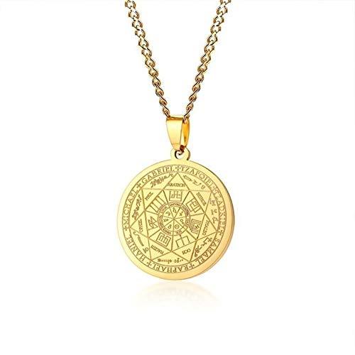 AdorabFruit Présent Pendentif Collar De Acero Inoxidable Color Oro For Hombre De Los Sellos De Los Siete Arcángeles Sigil Colgante (Color : Model 1161, Size : 24 Inches Chain)