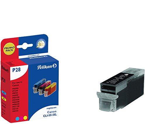 Pelikan P28 Promo Pack Plus 4 - Cartucce per stampante, compatibili con mod. Canon CLI-551 XL, 4 x 12 ml, nero/ciaio/magenta/giallo