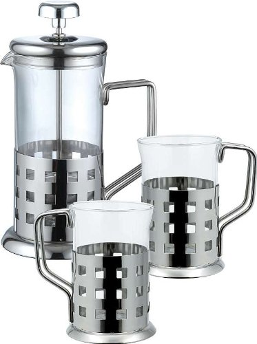 Acero inoxidable café-de corazón 3 tlg (té-diseño de corazón, 2 té-vasos, Espresso, café, vidrio, jarra para café,...