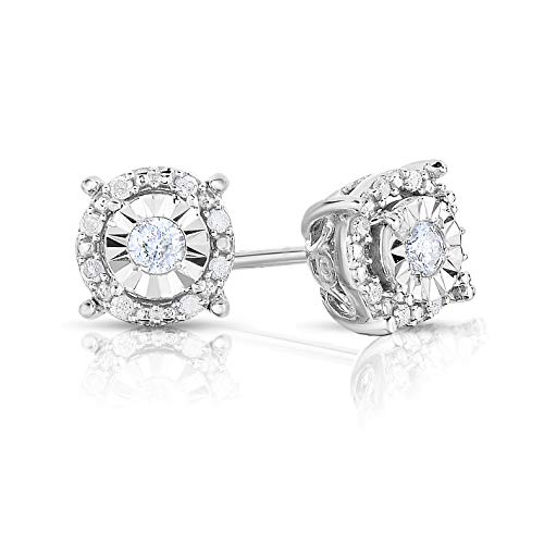 NATALIA DRAKE 1/4 Cttw Round Halo Diamond Stud Earrings for Women in Rhodium Plated Sterling Silver (Color IJ/Clarity I2-I3) (0.333 Ct Diamond Earrings)