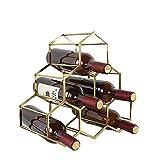 Soporte para Vino de Nido de Abeja, 6 botelleros de pie, Estante de Almacenamiento de Botellas de Vino con Revestimiento de Cobre Hexagonal, diseño Moderno