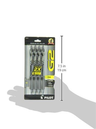 PILOT G2 Premium Refillable & Retractable Rolling Ball Gel Pens, Fine Point, Black Ink, 4-Pack (31057)