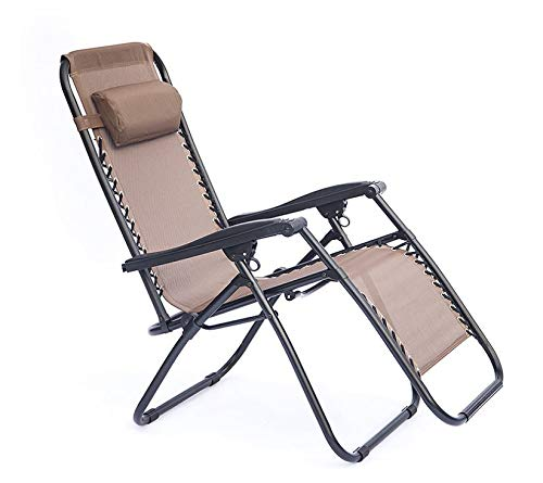 DYWOZDP Multifunctional Folding Chair,Oversized Garden Reclining For Heavy Duty People, Zero Gravity Sun Lounger Chair For Outdoor Patio Lawn Deck Portable Chairs, Support 200Kg,Brown