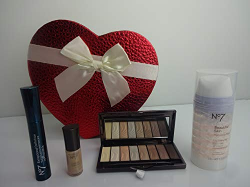 No7 4pc Glam Sac cadeau Ensemble cadeau ~ Rouge à lèvres – Mascara – Ombre à Paupières – Ensemble de vernis à ongles en sac cadeau