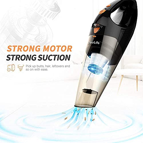 VacLife Handheld Vacuum, Hand Vacuum Cordless Rechargeable, Small and Portable with High Power and Quick Charge for Home and Car Cleaning - Black & Orange(VL189)
