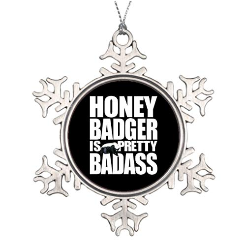 DKISEE Kerstbomen Versierde Honing Badger Is Pretty Badass Huis Kerstmis Sneeuwvlok Ornament 3 inches Aluminium Metalen Kerstmis Ornament Keepsake