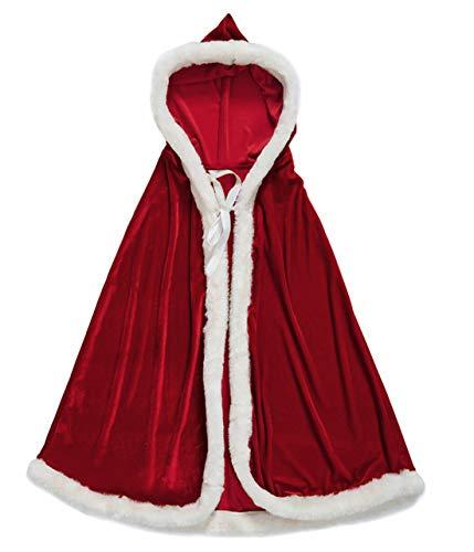 Christmas Party Santa Claus Costume Hooded Cape Kid Men Women Xmas Cappa Cloak