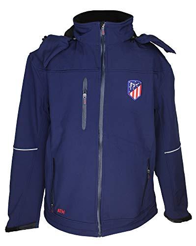 Atlético de Madrid Cazadora con Capucha Azul Marino - Personalizable con 4 Iniciales - Producto Oficial - Nuevo Escudo (XXL)