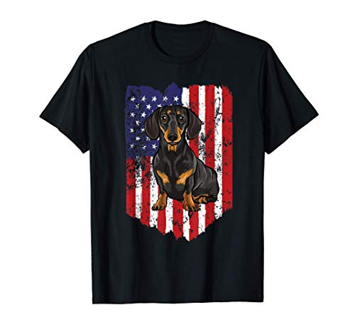 Bandera Americana 4 De Julio Dachshund Camiseta