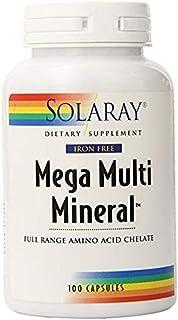 Mega Multi Mineral Amino Acid Chelates Iron-Free Solaray 100 Caps