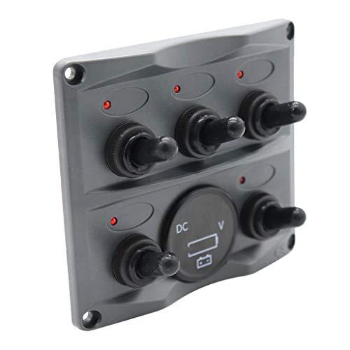 B Blesiya Enchufe del Voltímetro de Protección del Panel del Interruptor de Palanca de 12-24V 5 con LED