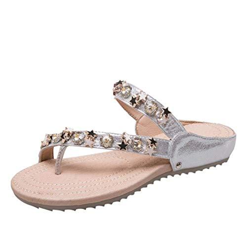 Diamante chanclas planas para damas de las mujeres, boda brillo nupcial Bling Jeweled Star Slim Toepost personalizada adornado tanga sandalias zapatos tamaño 2-7 ( Color : Plata , tamaño : UK 7--40 )