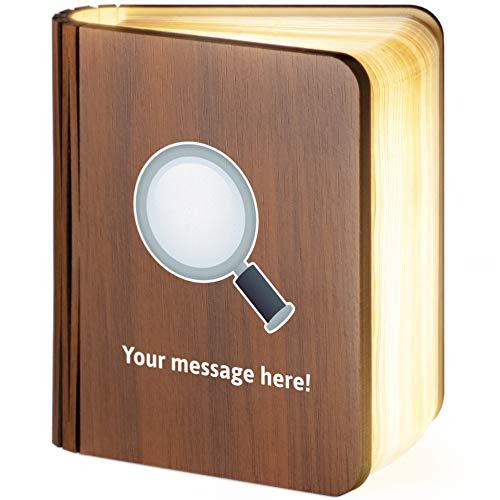Leselampe aus Holz, magnetisch, zusammenklappbar, mit Lupe, Emoji nach links geneigt, glas holz, S