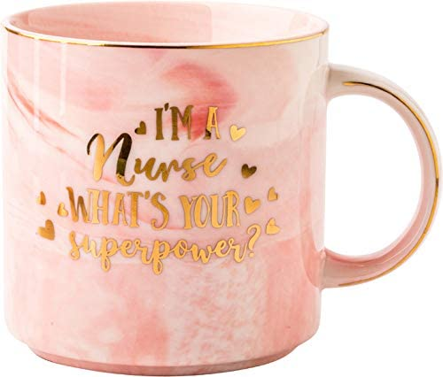 Funny Mug I m a Nurse What s Your Superpower 12 OZ Ceramic marble Great Coffee Tea Cup Great product image