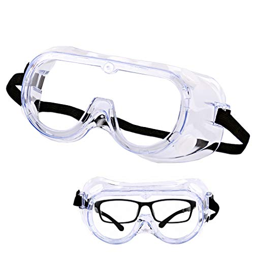 Gafas de Seguridad de Laboratorio Anti-Niebla Arena Anti-Viento antichoque Anti-Salpicaduras ácido químico y vidrios Anti-UV de protección alcalinos (Color : Clear)