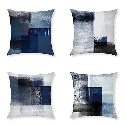QXbecky Fundas de Cojines Azul Oscuro Pintura al óleo Abstracta Bloque de Color geométrico Lino Funda de Almohada Cuadrada 4 Piezas (sin núcleo) sofá Funda de Almohada Decorativa