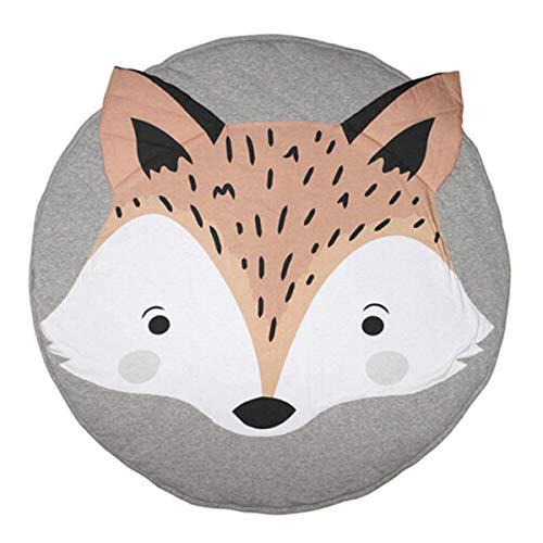 Borlai Tapis de jeu bébé enfant en bas âge dessin animé renard imprimé coussin rampant tapis de sol couverture pour enfants enfants chambre décor cadeau 85 cm