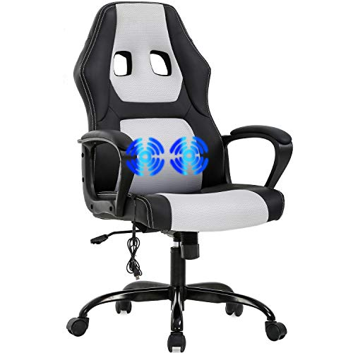 PC Gaming Chair Computer Chair Video Office Chair Ergonomic Office Desk Chair High Back PU Leather Comfortable Lumbar Support Massage Executive Rolling Swivel Task Chair with Adjustable Backrest,White