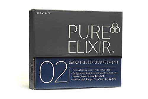Natural Sleep Aid with Natural Melatonin - 5-HTP, Montmorency Cherry, Chamomile, Lemon Balm, Probiotic Sleeping Pills. Smart Sleep Supplement by Pure Elixir