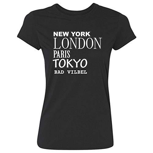 JOllify Frauen T-Shirt Bad VILBEL G1286 - Farbe: schwarz - Design 2: New York, London, Paris, Tokyo - Größe L