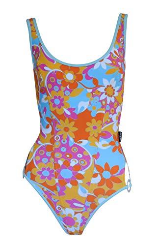 eleMar Damen Badeanzug Flower Schwimmanzug Einteiler Bademode tiefer Rücken (34/Cup: D)