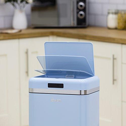 Swan Retro Kitchen Bin with Infrared Technology 45 L - Duck Egg Blue