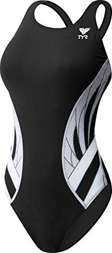 TYR Phoenix Splice Maxfit Swimsuit, Black/White, Size 40