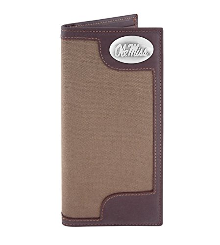 NCAA Mississippi Old Miss Rebels Canvas Leather Concho Secretary Wallet, Olive